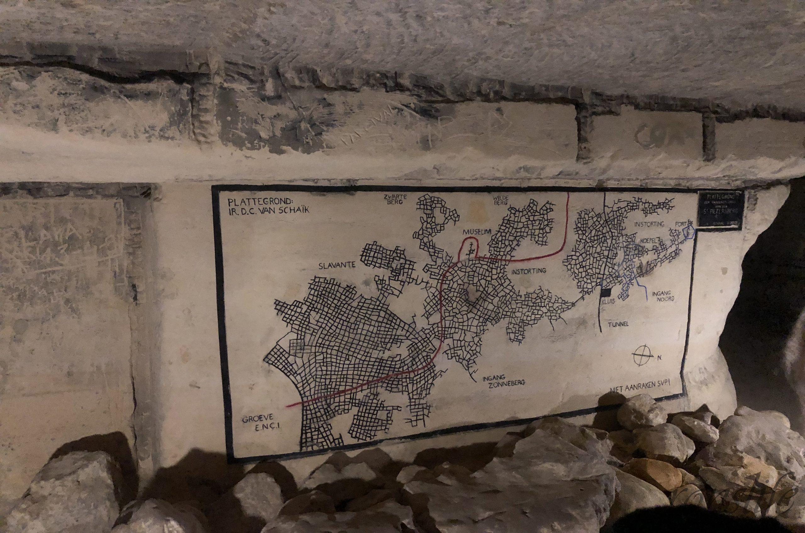 Plattegrond van het grottenstelsel in de Sint-Pietersberg Maastricht