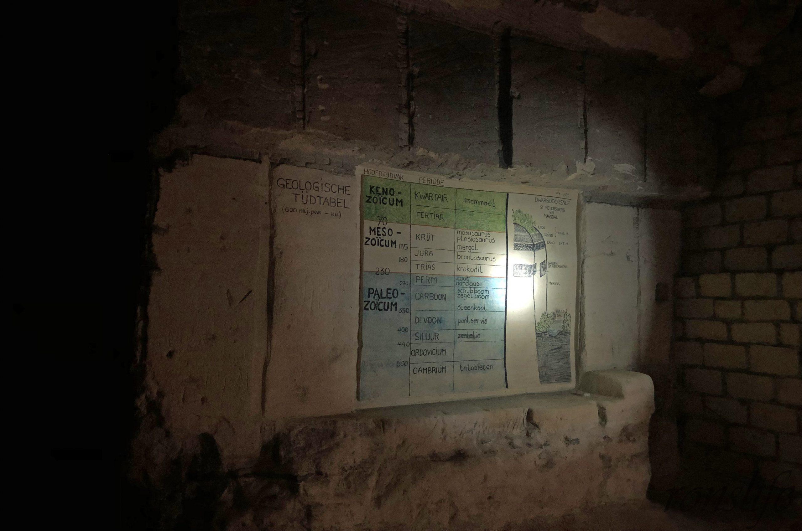 Geologische tijdlabel waarin ook staat wat aangetroffen is in de Sint-Pietersberg Maastricht
